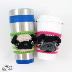 Cup Cozy Sleeve Pug crochet by Emi Kanesada (Enna Design)