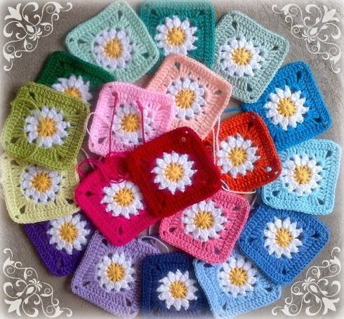 All Crochet Com : Daisies granny square - Free crochet pattern