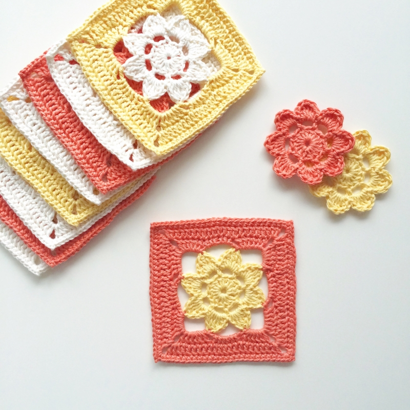 All Crochet Com : Easy Peasy Flower Squares - Free crochet pattern