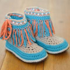 Moccasin Fringe Booties Children sizes crochet by Matilda's Meadow