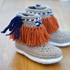Moccasin Fringe Booties Children sizes crochet pattern by Matilda's Meadow