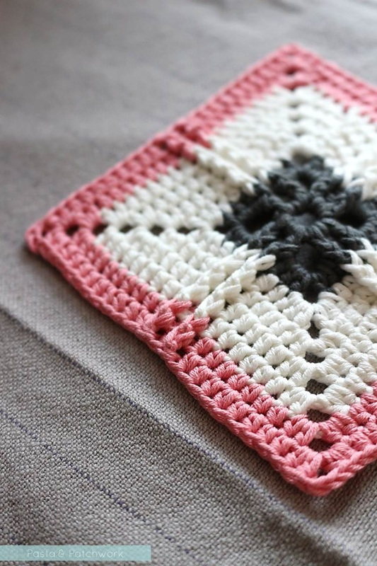 Ribbed Cross Granny Square - Free crochet pattern