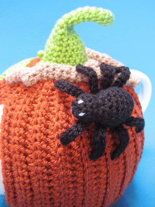 Teacosy Pumpkin With Spider Halloween Crochet Pattern