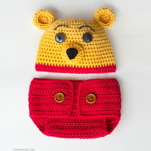 Winnie The Pooh Hat And Diaper Cover Free Crochet Pattern