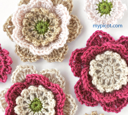 All Crochet Com : Flowers and leaves - Free crochet pattern