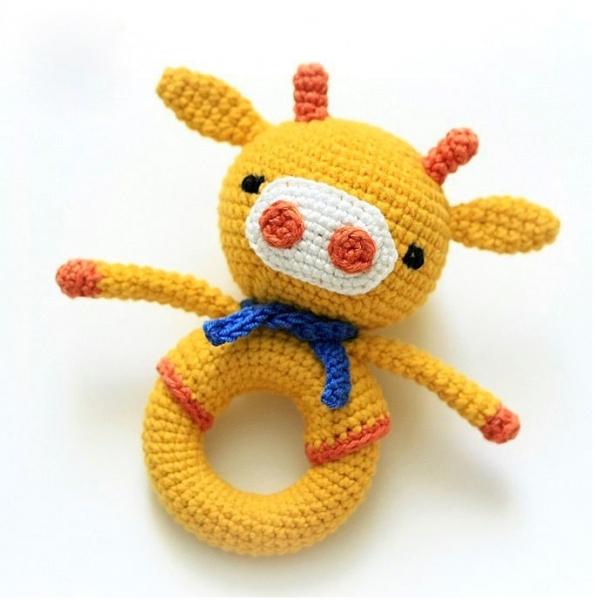 Giraffe Baby Rattle Free Crochet Pattern