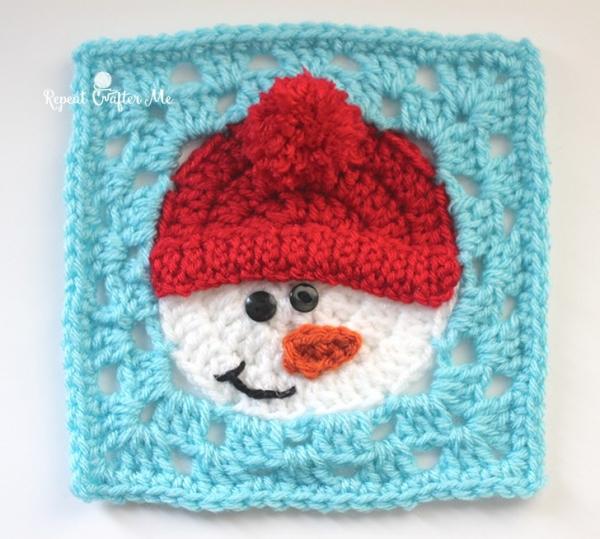Free Crochet Pattern For Snowflake Granny Square : Snowman square - Free crochet pattern