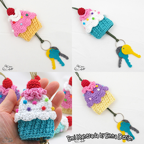 Cupcake key cozy crochet pattern by Emi Kanesada (Enna Design) 51f21cfb0006
