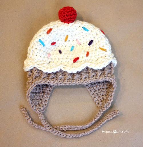 All Crochet Com : Baby cupcake hat - Free crochet pattern