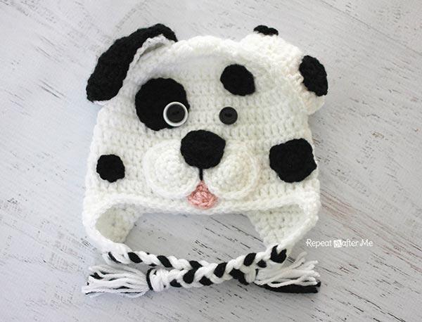 Crochet Dog Earflap Hat Pattern : Dalmatian dog hat - Free crochet pattern