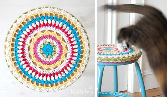 Mandala Stool Cover Free Crochet Pattern