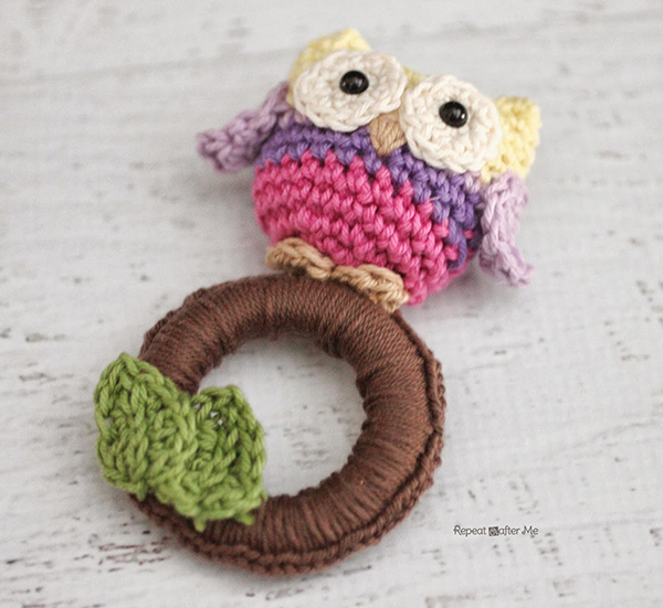 All Crochet Com : Owl ring baby toy - Free crochet pattern