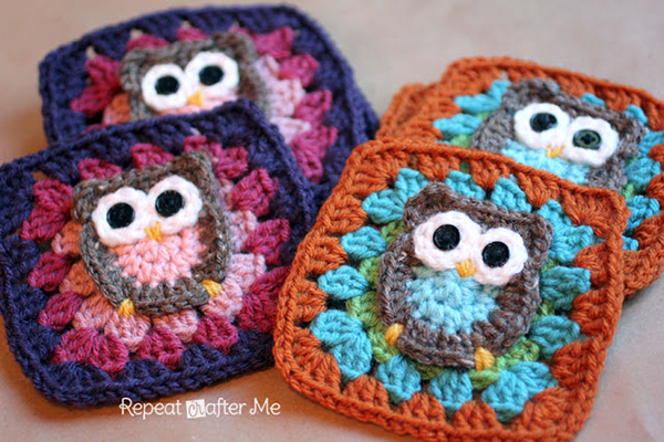 All Crochet Patterns : Owl Granny Square - Free crochet pattern