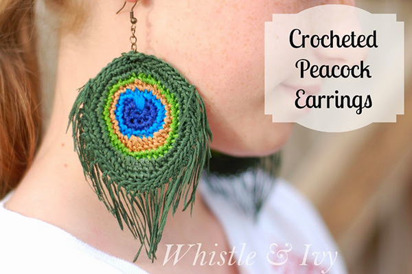 Peacock Feather Earrings Free Crochet Pattern