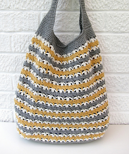 Bag Crochet Pattern Free Download : Allcrochetpatterns.net > Bags > Stripy market bag